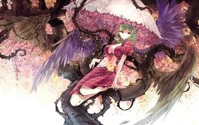 flowers, wings, umbrella, anime girls, anime, red eyes