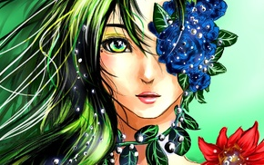 flowers, anime girls, green hair, green eyes, original characters, anime