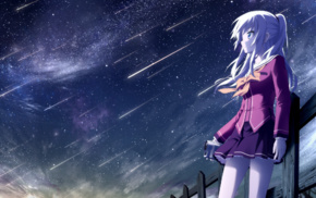 stars, school uniform, Tomori Nao, night, Charlotte anime, anime