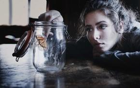 butterfly, girl, model