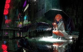 redhead, sitting, anime, city, wings, original characters