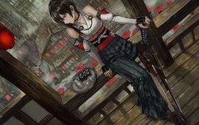 lantern, original characters, anime, Pixiv Fantasia T, anime girls, black hair