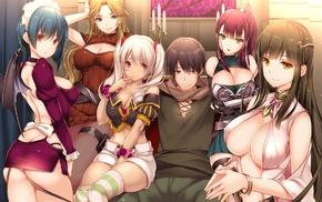 anime girls, anime, ass, wings, original characters, maid