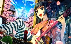 guitar, Japanese clothes, headphones, brunette, blue eyes, city