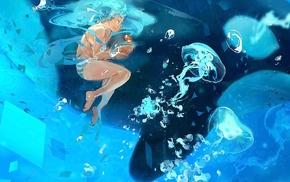 anime, anime girls, jellyfish, underwater, Vocaloid, Hatsune Miku