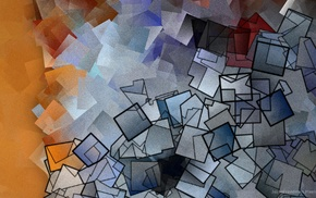 abstract, orange, blue, outline, texture, Jason Freedman