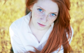 freckles, redhead, looking at viewer, girl, blue eyes
