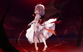 anime, white dress, blood, Remilia Scarlet, Touhou, wings