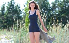 micro dress, dress, field, brunette, nipples through clothing, girl outdoors