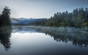 nature, New Zealand, snowy peak, trees, reflection, lake