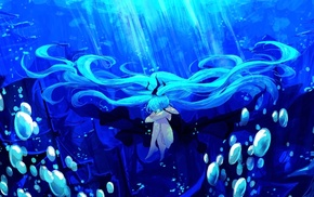 underwater, anime, Hatsune Miku, Vocaloid, anime girls