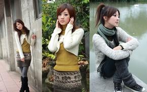 sweater, legwarmers, ponytail, Mikako, Mikako Zhang Kaijie, Asian