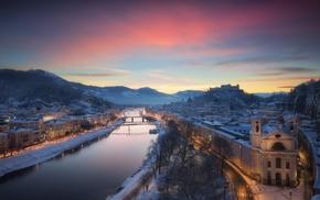 city, cityscape, snow, sky, river, mountains