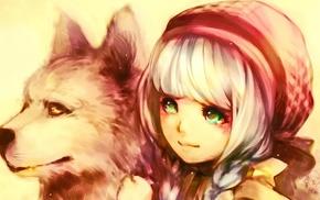 anime, original characters, dog, anime girls