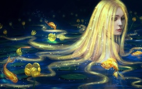 original characters, flowers, anime girls, fish, blonde, long hair