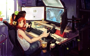 original characters, interfaces, artwork, digital art, room, redhead