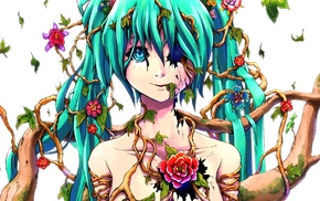 flowers, Hatsune Miku, Vocaloid, branch, anime, anime girls