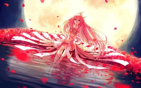 flower petals, Vocaloid, Moon, anime girls, rose, anime