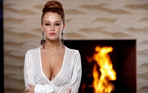 girl, fireplace, Leanna Decker, arms crossed, looking at viewer, dress