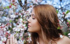 auburn hair, girl, Kailena, flowers, Sybil A, trees