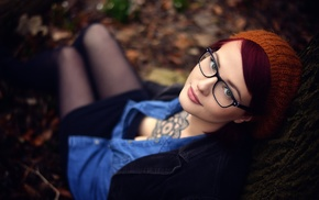 girl, looking at viewer, girl with glasses, redhead, model, tattoo