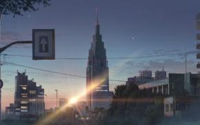 Makoto Shinkai, sunset, flares, city, signs, anime