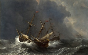 artwork, ship, Willem van de Velde, painting