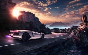 Lamborghini, artwork, car, road, motion blur, vehicle