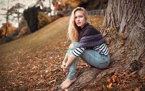 blonde, sitting, looking at viewer, long hair, girl outdoors, Eva Mikulski