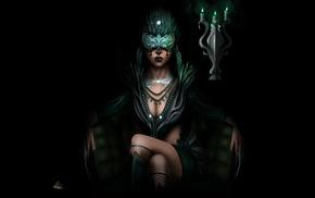 dark, artwork, girl, mask, fantasy art