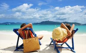 vacation, girl, couple, men, landscape, sea