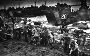 World War II, Iwo Jima, beach, war, monochrome, military