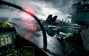 aircraft carrier, cockpit, military, Battlefield 3, video games, McDonnell Douglas FA