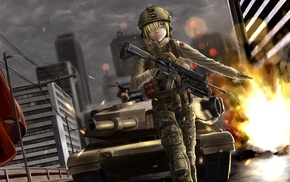 original characters, weapon, tank, female soldier, uniform, anime girls