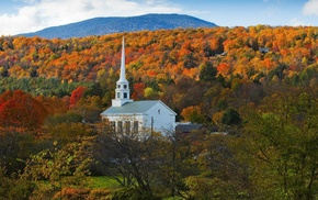 forest, hills, church, fall, nature, architecture