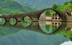 Italy, trees, arch, nature, lake, bridge