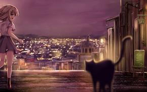 skirt, anime girls, city, skyline, original characters, building