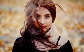 brunette, scarf, blue eyes, hair in face, girl, Ann Nevreva