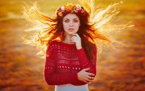 girl outdoors, Ann Nevreva, flower in hair, windy, girl, looking at viewer