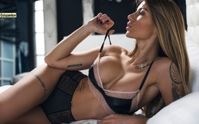 tattoo, Andrew Goluzenkov, in bed, blonde, girl, stripping
