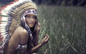 looking at viewer, no bra, girl outdoors, girl, headdress, strategic covering