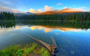 water, reflection, mountains, lake, forest, sunset