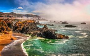 nature, beach, rocks, coast, landscape, sea