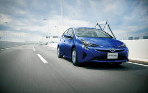 vehicle, road, motion blur, Toyota Prius, electric car, car