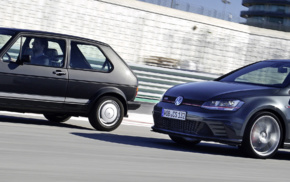 motion blur, vehicle, Volkswagen Golf GTI, race tracks, car