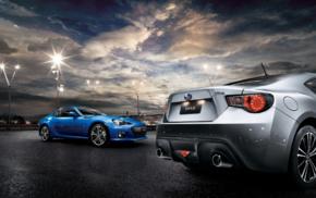 sunset, vehicle, car, clouds, Subaru BRZ, race tracks