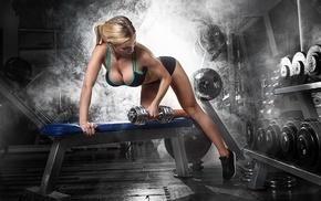 sport, gyms, bent over, fitness model, ponytail, blonde