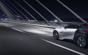 vehicle, electric car, road, Peugeot Fractal, motion blur, lights
