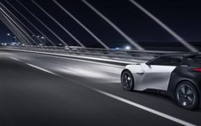vehicle, electric car, road, Peugeot Fractal, motion blur, lights