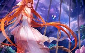 plants, white dress, wings, Yuuki Asuna, redhead, anime girls